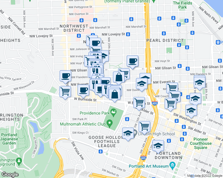 map of restaurants, bars, coffee shops, grocery stores, and more near 210 Northwest 20th Avenue in Portland