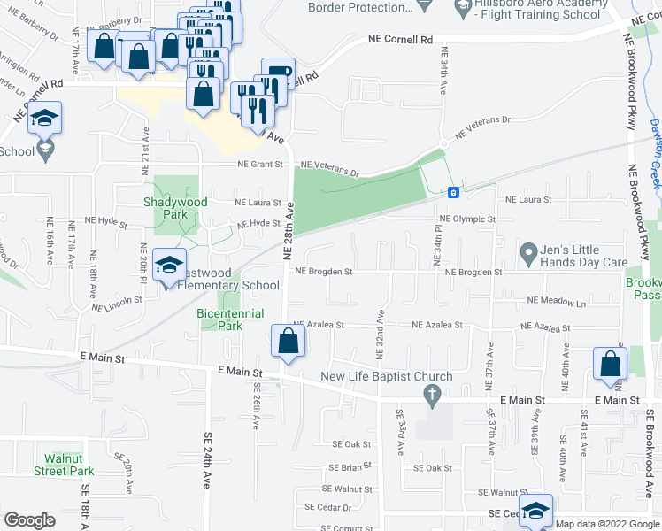 map of restaurants, bars, coffee shops, grocery stores, and more near 363 Northeast Sequoia Court in Hillsboro