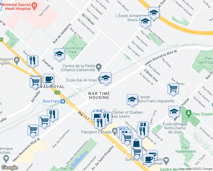 map of restaurants, bars, coffee shops, grocery stores, and more near 4375 Boulevard Henri-Bourassa Ouest in Montréal
