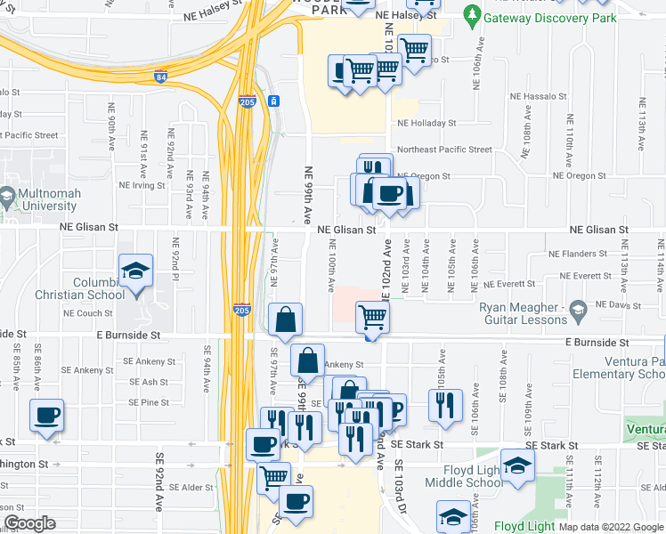 map of restaurants, bars, coffee shops, grocery stores, and more near 324 Northeast 100th Avenue in Portland