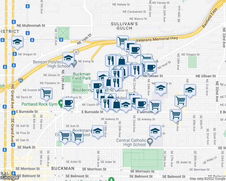 map of restaurants, bars, coffee shops, grocery stores, and more near Northeast Everett Street & Northeast 19th Avenue in Portland