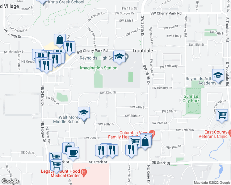 map of restaurants, bars, coffee shops, grocery stores, and more near SW McGinnis Ave & SW 22nd St in Troutdale