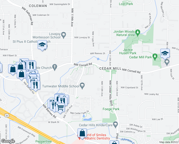 map of restaurants, bars, coffee shops, grocery stores, and more near 720 Northwest 118th Avenue in Portland