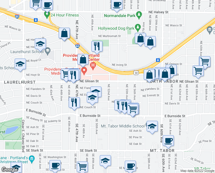map of restaurants, bars, coffee shops, grocery stores, and more near 407 Northeast 52nd Avenue in Portland
