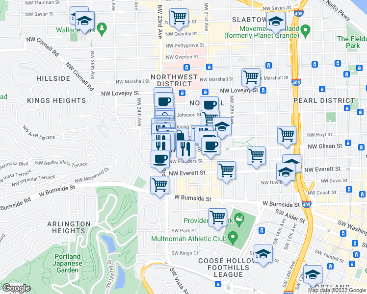 map of restaurants, bars, coffee shops, grocery stores, and more near 507 Northwest 22nd Avenue in Portland