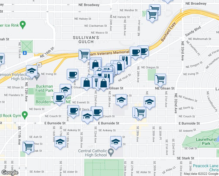 map of restaurants, bars, coffee shops, grocery stores, and more near NE Glisan St & NE 24th Ave in Portland