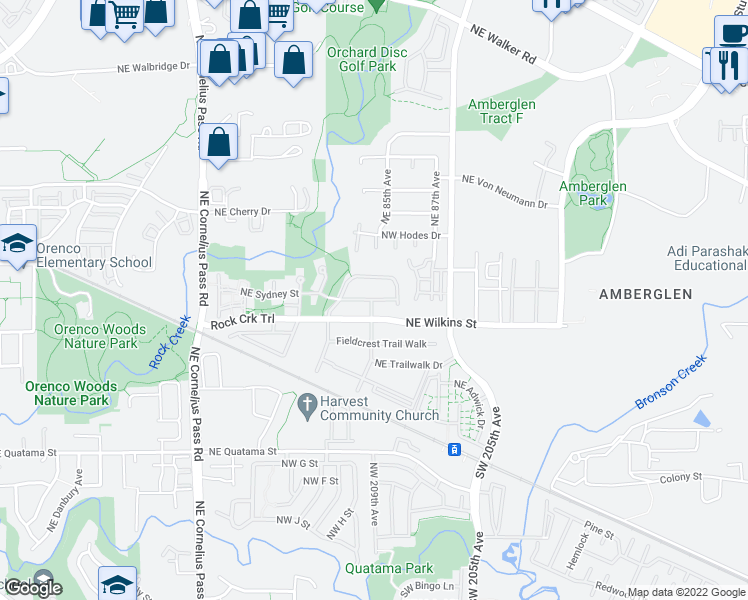 map of restaurants, bars, coffee shops, grocery stores, and more near Northwest Trail Walk Drive in Hillsboro