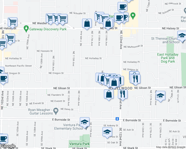 map of restaurants, bars, coffee shops, grocery stores, and more near 729 Northeast 117th Avenue in Portland