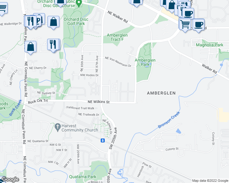 map of restaurants, bars, coffee shops, grocery stores, and more near Northeast Tennyson Street in Hillsboro