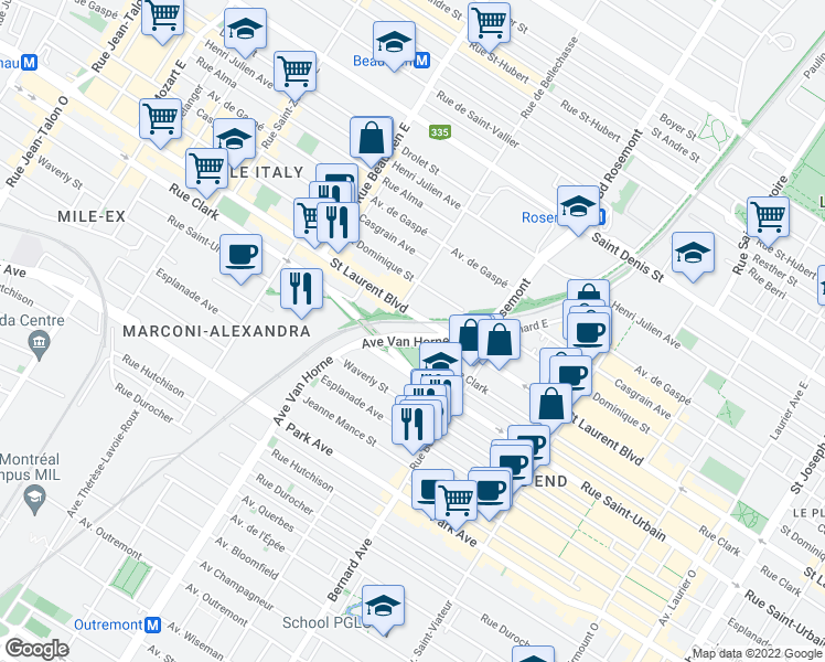 map of restaurants, bars, coffee shops, grocery stores, and more near 1 Boulevard Rosemont in Montréal