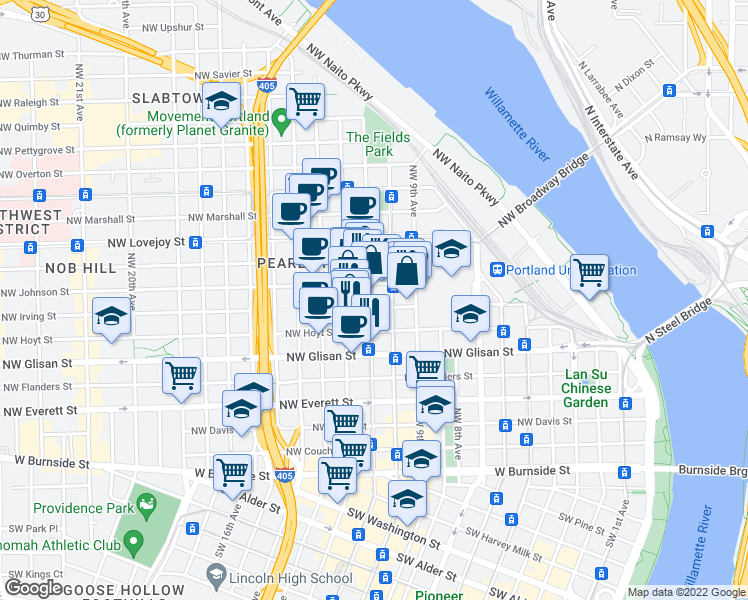 map of restaurants, bars, coffee shops, grocery stores, and more near 726 Northwest 11th Avenue in Portland
