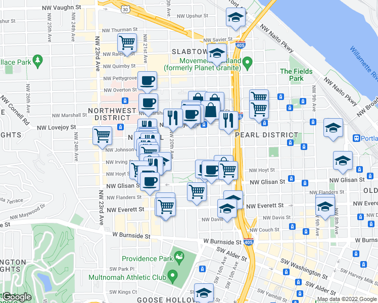 map of restaurants, bars, coffee shops, grocery stores, and more near 777 Northwest 19th Avenue in Portland