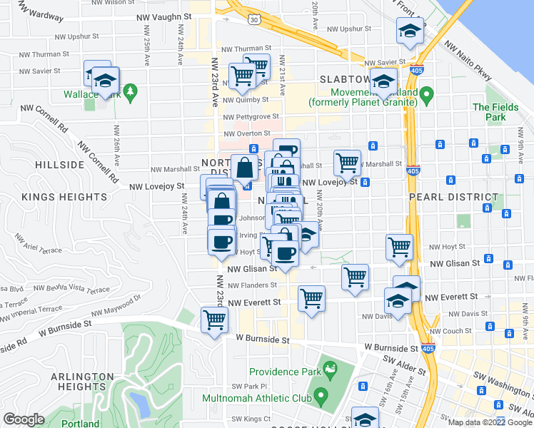 map of restaurants, bars, coffee shops, grocery stores, and more near 2151 Northwest Johnson Street in Portland