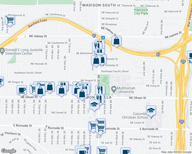 map of restaurants, bars, coffee shops, grocery stores, and more near 850 Northeast 81st Avenue in Portland