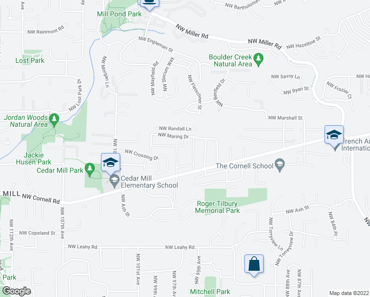 map of restaurants, bars, coffee shops, grocery stores, and more near 9666 Northwest Nottage Drive in Portland