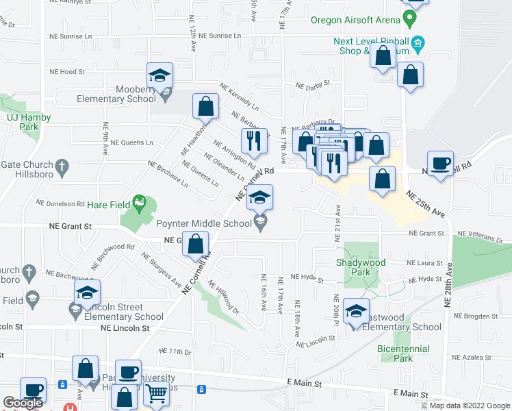 map of restaurants, bars, coffee shops, grocery stores, and more near 1650 Northeast Cornell Road in Hillsboro
