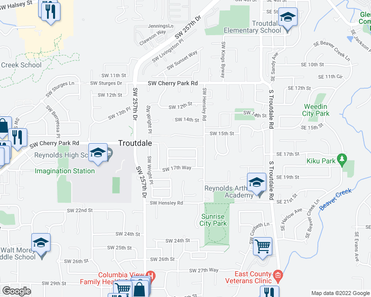 map of restaurants, bars, coffee shops, grocery stores, and more near Southwest Grant Way in Troutdale