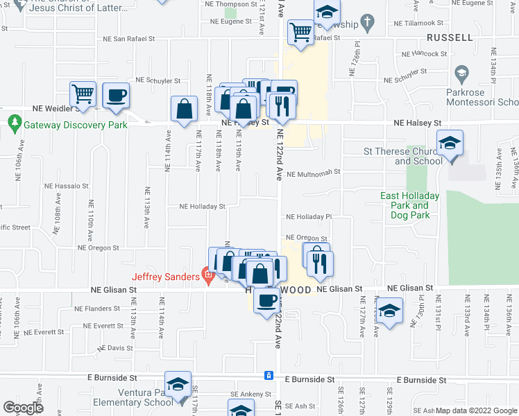 map of restaurants, bars, coffee shops, grocery stores, and more near 957 Northeast 122nd Avenue in Portland