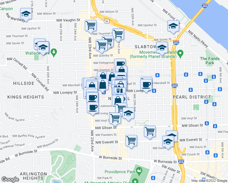 map of restaurants, bars, coffee shops, grocery stores, and more near 2132 Northwest Lovejoy Street in Portland