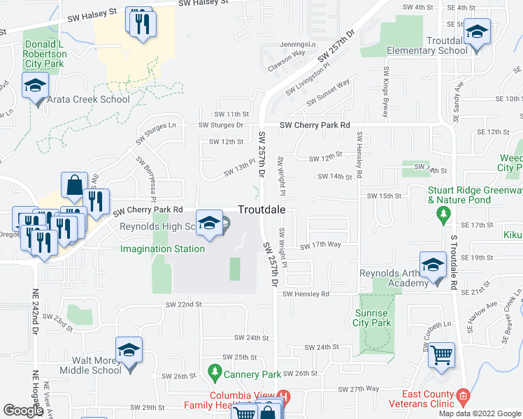 map of restaurants, bars, coffee shops, grocery stores, and more near Southwest 257th Avenue in Troutdale