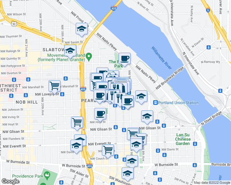 map of restaurants, bars, coffee shops, grocery stores, and more near Northwest Lovejoy Street & Northwest 11th Avenue in Portland