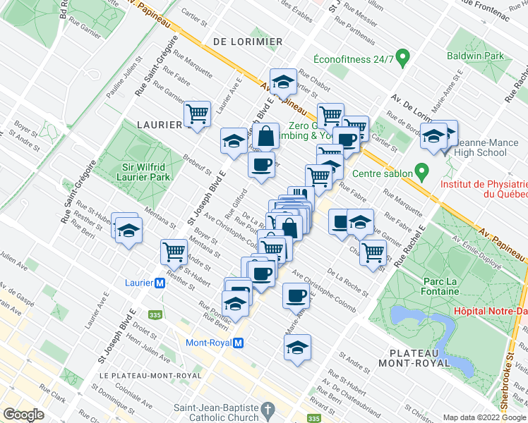 map of restaurants, bars, coffee shops, grocery stores, and more near 4658 Rue de Brébeuf in Montréal