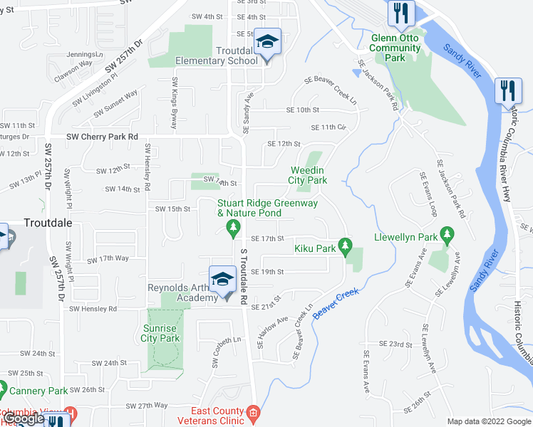 map of restaurants, bars, coffee shops, grocery stores, and more near 277 Southeast 16th Court in Troutdale