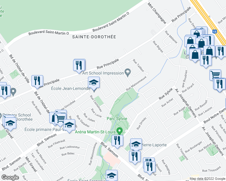 map of restaurants, bars, coffee shops, grocery stores, and more near 829 Rue Malraux in Laval