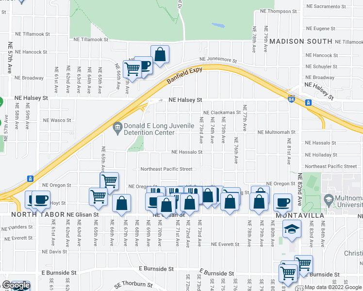 map of restaurants, bars, coffee shops, grocery stores, and more near 1122 Northeast 71st Avenue in Portland