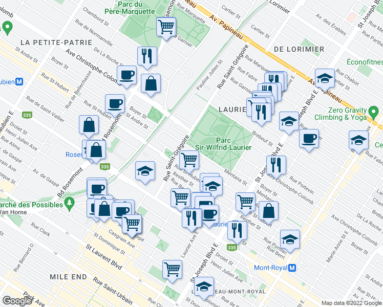 map of restaurants, bars, coffee shops, grocery stores, and more near 5310 Rue de Mentana in Montréal