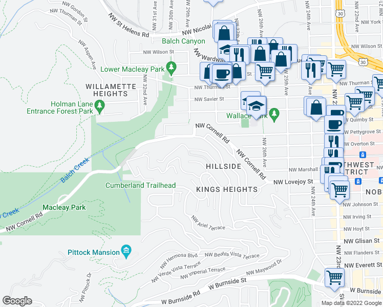 map of restaurants, bars, coffee shops, grocery stores, and more near 2882 Northwest Fairfax Terrace in Portland