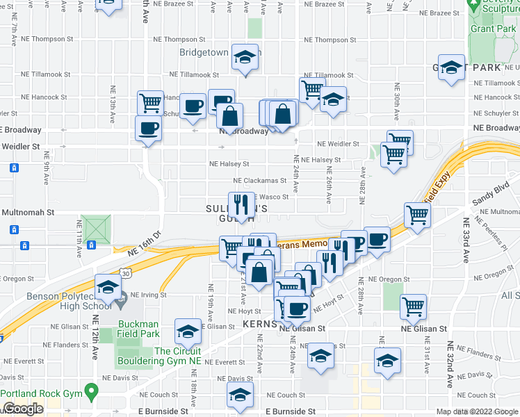 map of restaurants, bars, coffee shops, grocery stores, and more near 2165 Northeast Multnomah Street in Portland