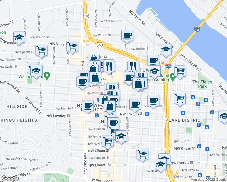 map of restaurants, bars, coffee shops, grocery stores, and more near 2087 Northwest Overton Street in Portland
