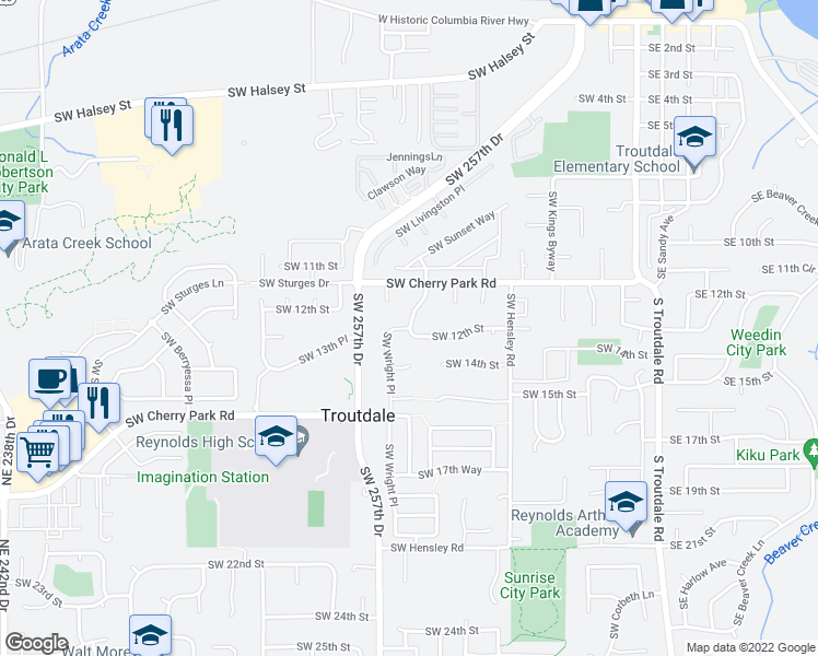 map of restaurants, bars, coffee shops, grocery stores, and more near Southwest 12th Street in Troutdale
