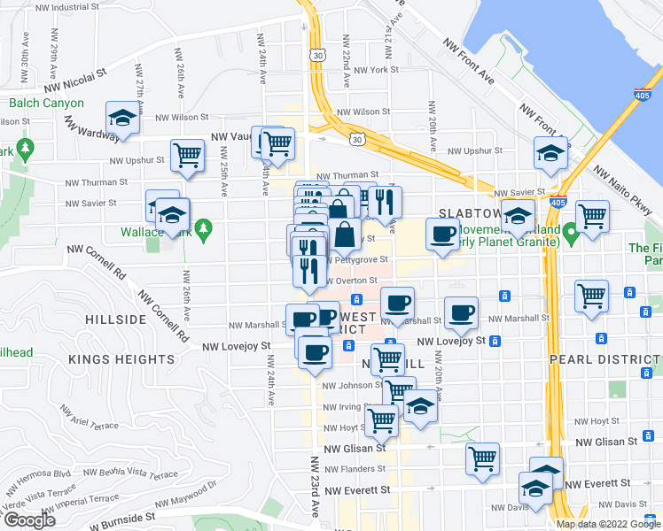 map of restaurants, bars, coffee shops, grocery stores, and more near 2240 Northwest Pettygrove Street in Portland