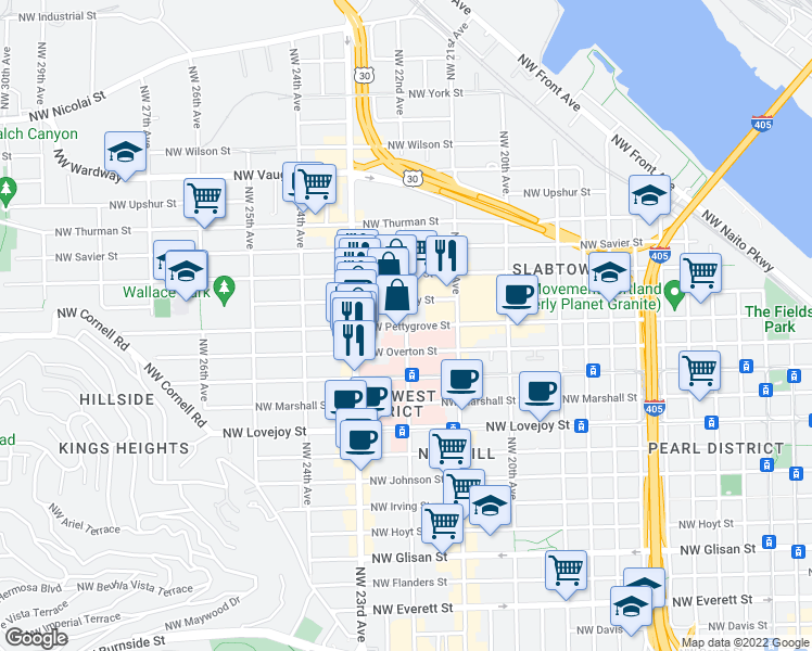 map of restaurants, bars, coffee shops, grocery stores, and more near Northwest Pettygrove Street in Portland