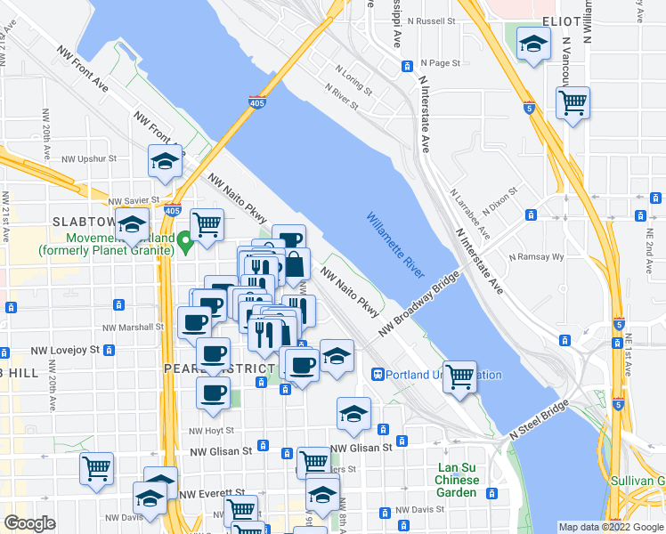 map of restaurants, bars, coffee shops, grocery stores, and more near 1310 Northwest N