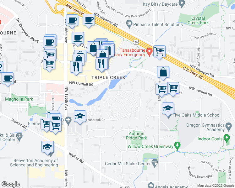 map of restaurants, bars, coffee shops, grocery stores, and more near 1865 NW Rolling Hill Dr in Beaverton