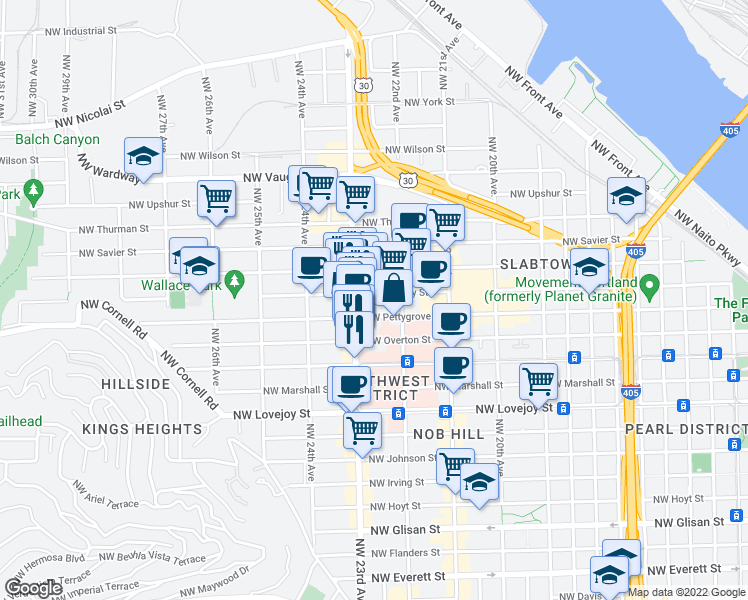 map of restaurants, bars, coffee shops, grocery stores, and more near 2256 Northwest Quimby Street in Portland