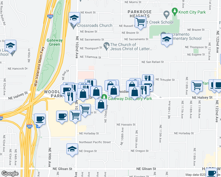 map of restaurants, bars, coffee shops, grocery stores, and more near 10615 Northeast Weidler Street in Portland