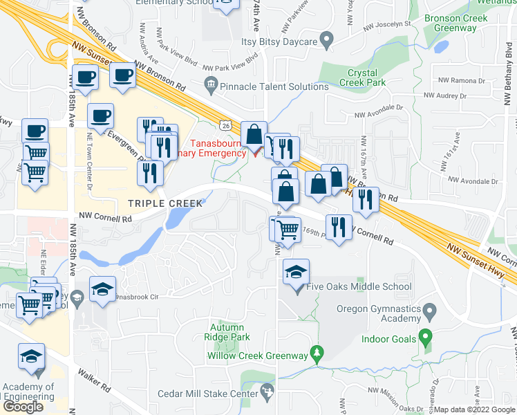 map of restaurants, bars, coffee shops, grocery stores, and more near 1815 Northwest 173rd Avenue in Beaverton