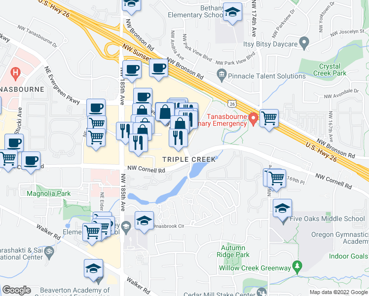 map of restaurants, bars, coffee shops, grocery stores, and more near 17945 Northwest Evergreen Parkway in Beaverton