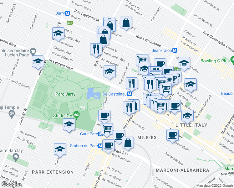 map of restaurants, bars, coffee shops, grocery stores, and more near 7400 Saint Laurent Boulevard in Montreal
