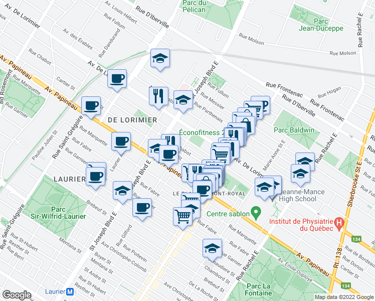 map of restaurants, bars, coffee shops, grocery stores, and more near 4723 Rue Chabot in Montréal