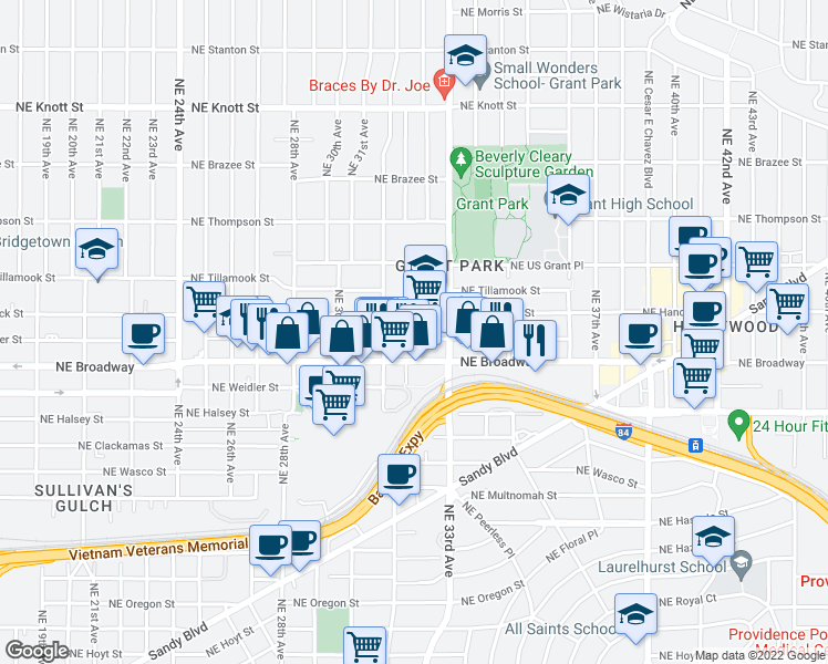 map of restaurants, bars, coffee shops, grocery stores, and more near 3237 Northeast Schuyler Street in Portland