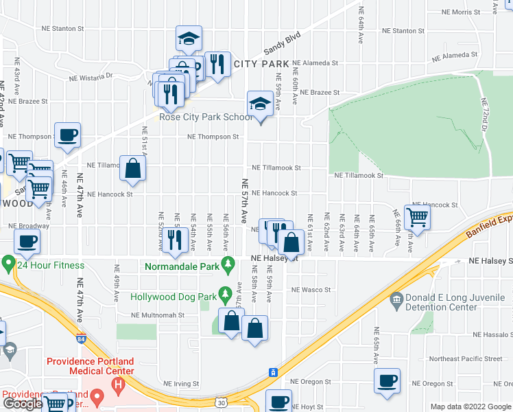 map of restaurants, bars, coffee shops, grocery stores, and more near 1821 Northeast 58th Avenue in Portland