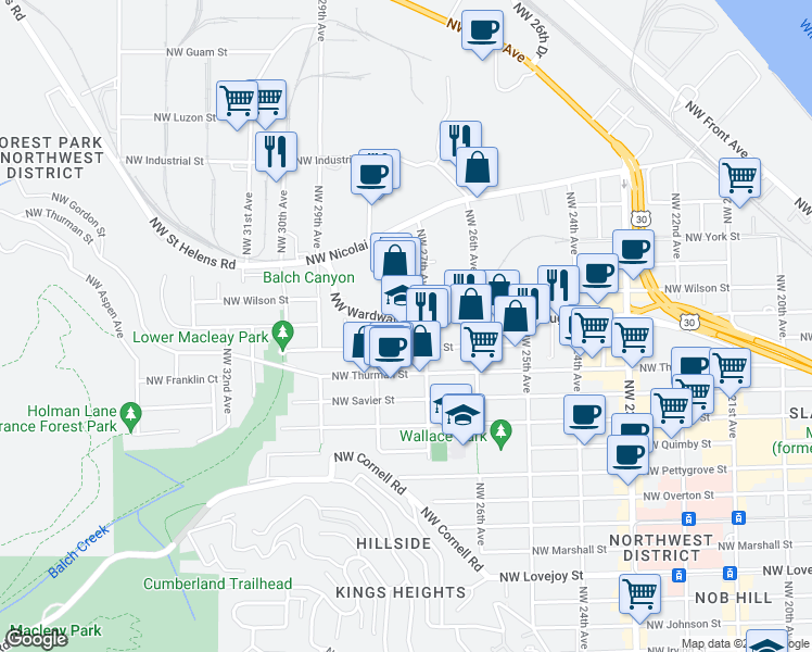 map of restaurants, bars, coffee shops, grocery stores, and more near 2713-2731 Northwest Wardway in Portland