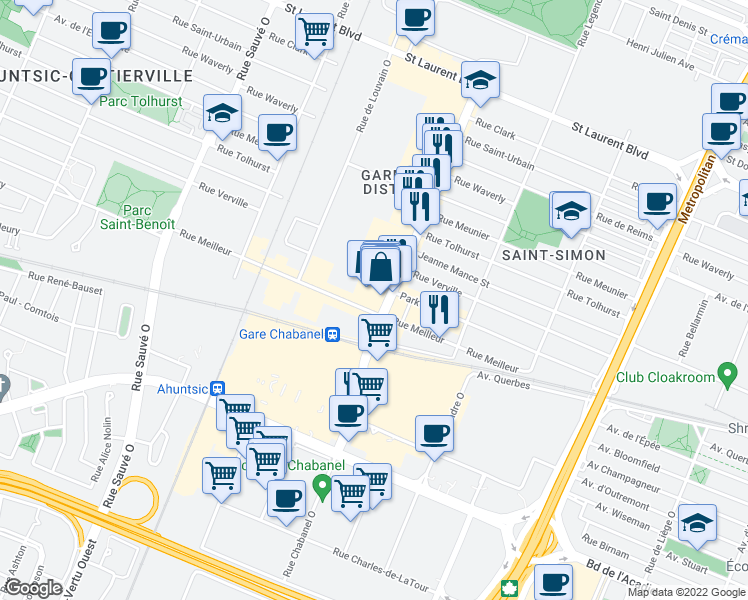 map of restaurants, bars, coffee shops, grocery stores, and more near 555 Rue Chabanel Ouest in Montréal