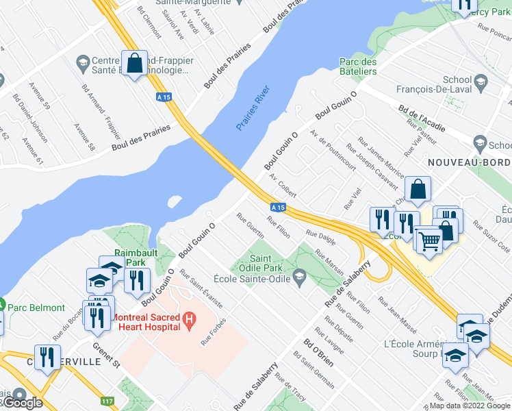 map of restaurants, bars, coffee shops, grocery stores, and more near 4190 Boulevard Gouin Ouest in Montréal