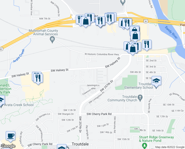 map of restaurants, bars, coffee shops, grocery stores, and more near 910 Southwest Halsey Street in Troutdale
